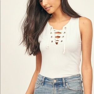 A&F Cropped Lace Up Tank